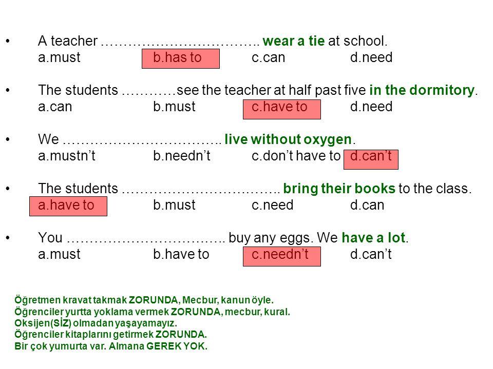 A teacher ……………………………..wear a tie at school.