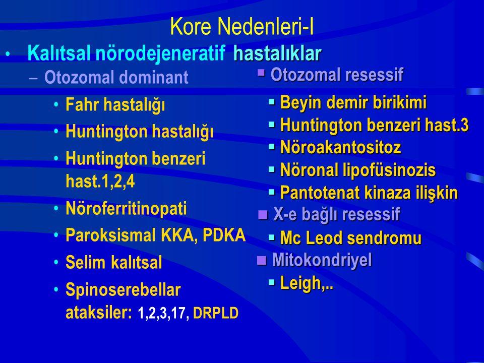 Kore Nedenleri-I Kalıtsal nörodejeneratif – Otozomal dominant Fahr hastalığı Huntington hastalığı Huntington benzeri hast.1,2,4 Nöroferritinopati Paro