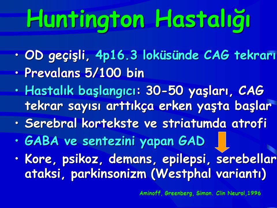 Huntington Hastalığı OD geçişli, 4p16.3 loküsünde CAG tekrarıOD geçişli, 4p16.3 loküsünde CAG tekrarı Prevalans 5/100 binPrevalans 5/100 bin Hastalık