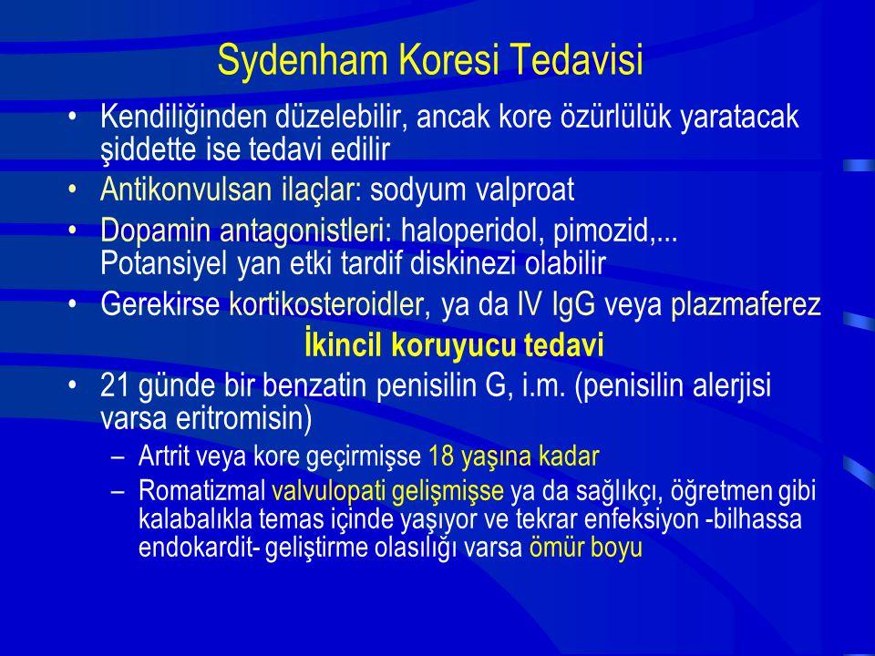 Sydenham Koresi Tedavisi Kendiliğinden düzelebilir, ancak kore özürlülük yaratacak şiddette ise tedavi edilir Antikonvulsan ilaçlar: sodyum valproat D