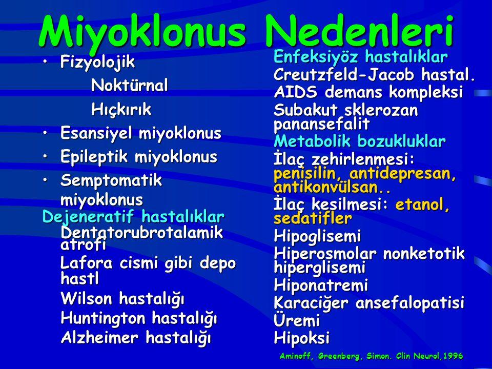 Miyoklonus Nedenleri FizyolojikFizyolojikNoktürnalHıçkırık Esansiyel miyoklonusEsansiyel miyoklonus Epileptik miyoklonusEpileptik miyoklonus Semptomat
