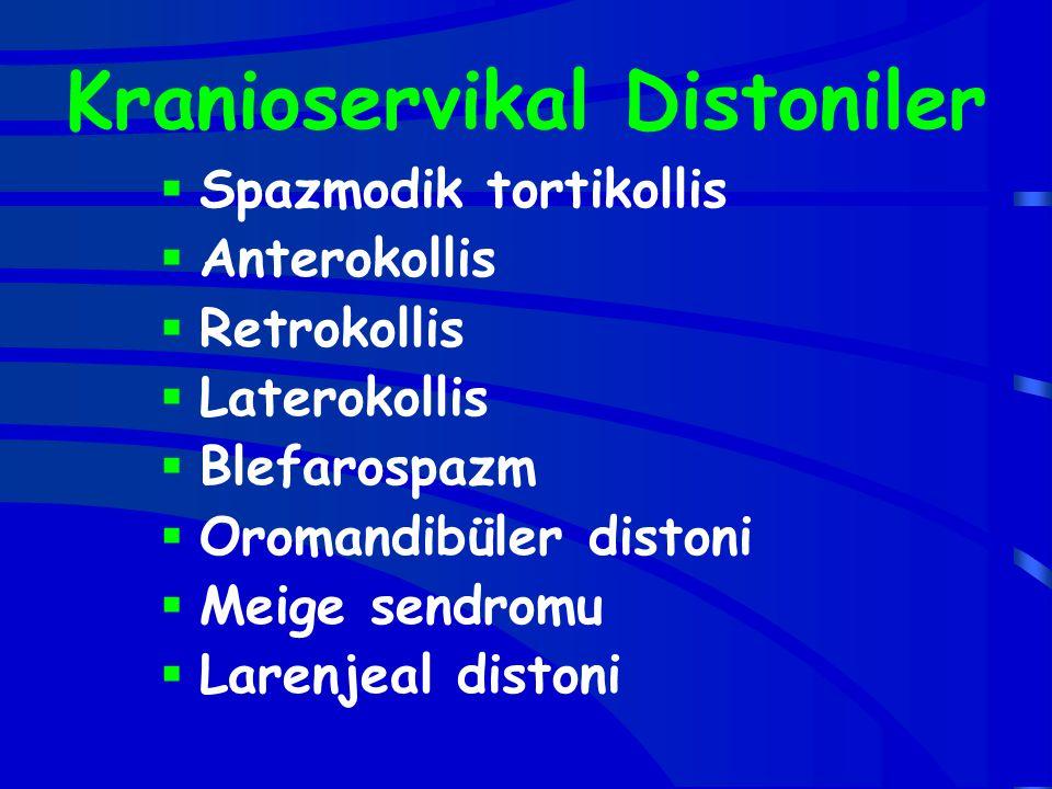 Kranioservikal Distoniler  Spazmodik tortikollis  Anterokollis  Retrokollis  Laterokollis  Blefarospazm  Oromandibüler distoni  Meige sendromu