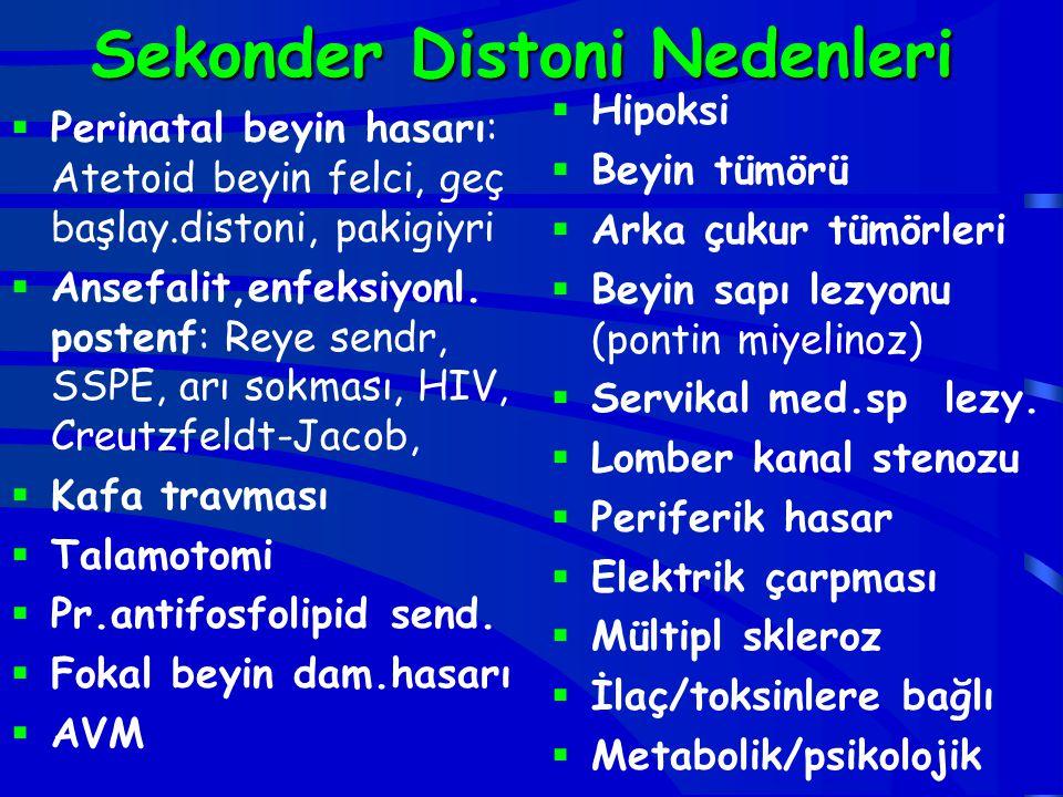 Sekonder Distoni Nedenleri  Perinatal beyin hasarı: Atetoid beyin felci, geç başlay.distoni, pakigiyri  Ansefalit,enfeksiyonl. postenf: Reye sendr,