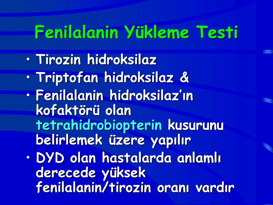 Fenilalanin Yükleme Testi Tirozin hidroksilazTirozin hidroksilaz Triptofan hidroksilaz &Triptofan hidroksilaz & Fenilalanin hidroksilaz'ın kofaktörü o