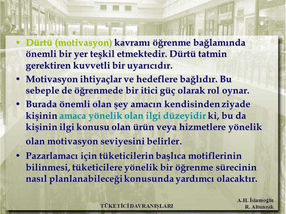 A.H. İslamoğlu R. Altunışık TÜKETİCİ DAVRANIŞLARI Dürtü (motivasyon) kavramı öğrenme bağlamında önemli bir yer teşkil etmektedir. Dürtü tatmin gerekti