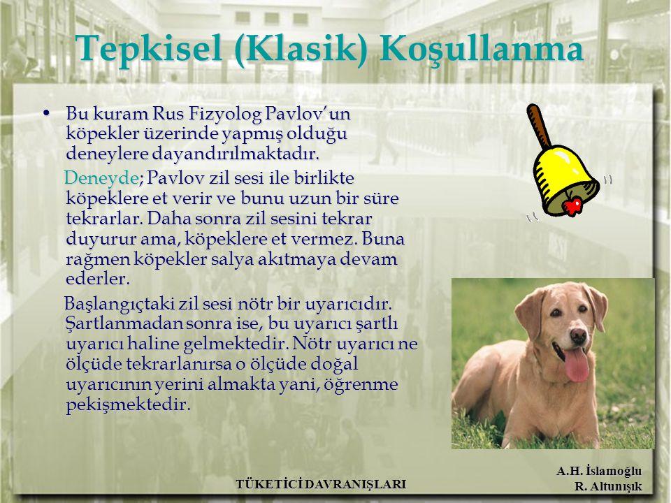 A.H. İslamoğlu R. Altunışık TÜKETİCİ DAVRANIŞLARI Tepkisel (Klasik) Koşullanma Bu kuram Rus Fizyolog Pavlov'un köpekler üzerinde yapmış olduğu deneyle