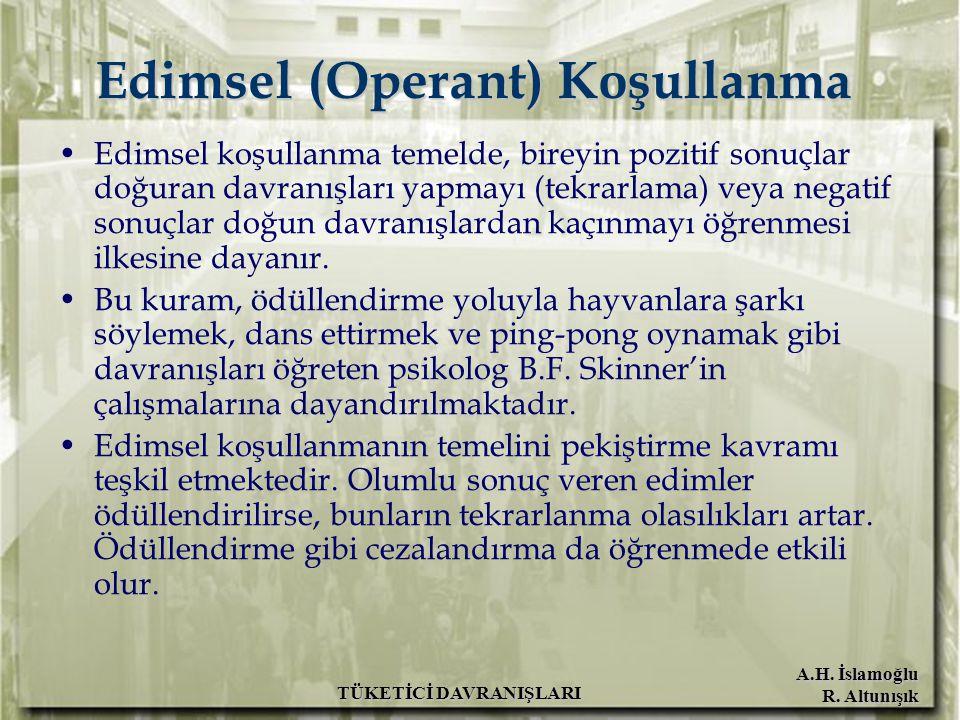 A.H. İslamoğlu R. Altunışık TÜKETİCİ DAVRANIŞLARI Edimsel (Operant) Koşullanma Edimsel koşullanma temelde, bireyin pozitif sonuçlar doğuran davranışla