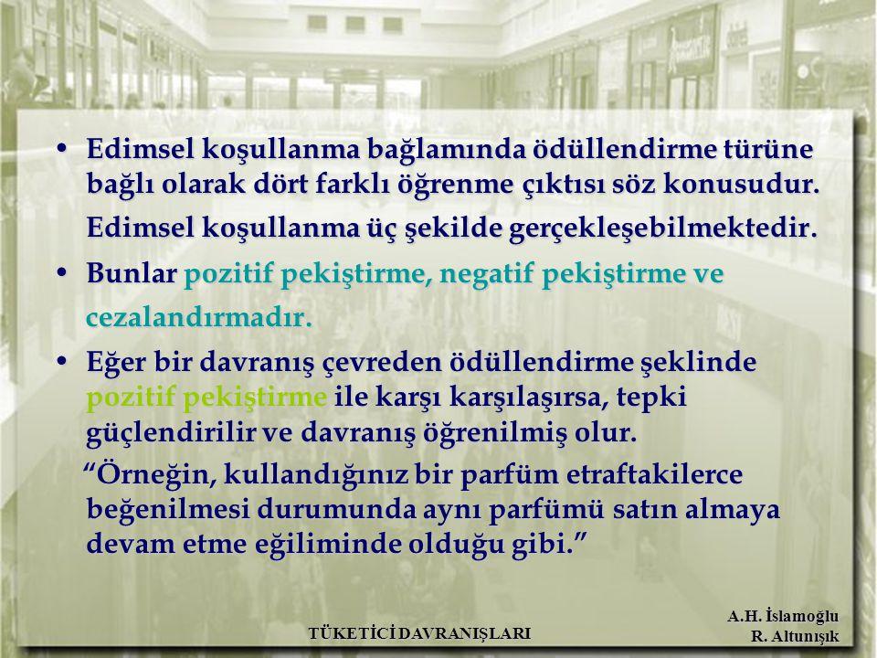 A.H. İslamoğlu R. Altunışık TÜKETİCİ DAVRANIŞLARI Edimsel koşullanma bağlamında ödüllendirme türüne bağlı olarak dört farklı öğrenme çıktısı söz konus