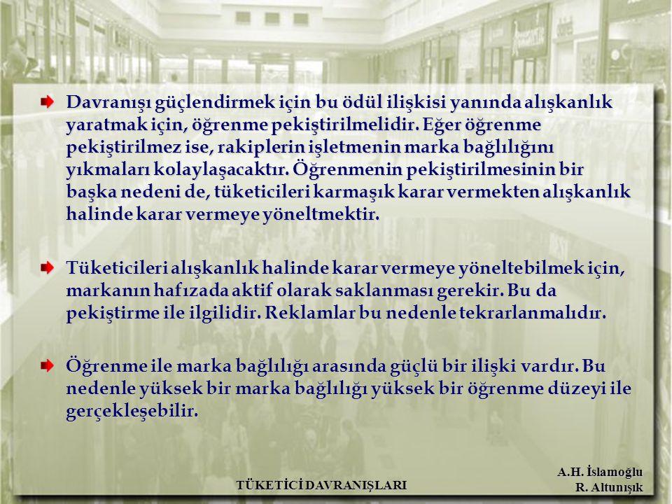 A.H. İslamoğlu R. Altunışık TÜKETİCİ DAVRANIŞLARI Davranışı güçlendirmek için bu ödül ilişkisi yanında alışkanlık yaratmak için, öğrenme pekiştirilmel