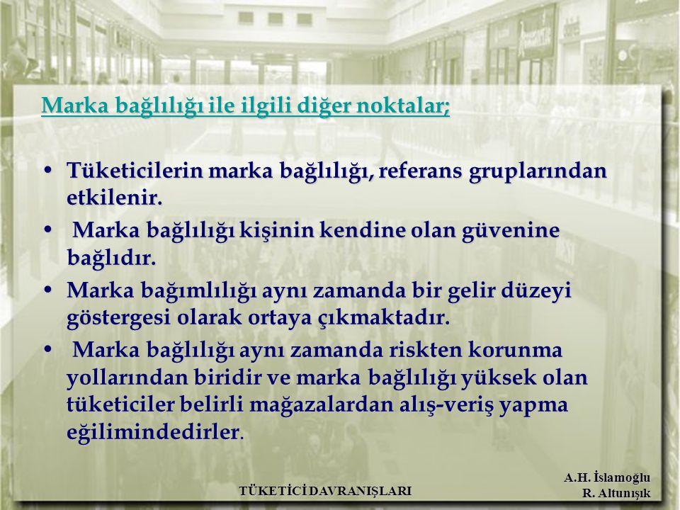 A.H. İslamoğlu R. Altunışık TÜKETİCİ DAVRANIŞLARI Marka bağlılığı ile ilgili diğer noktalar; Tüketicilerin marka bağlılığı, referans gruplarından etki