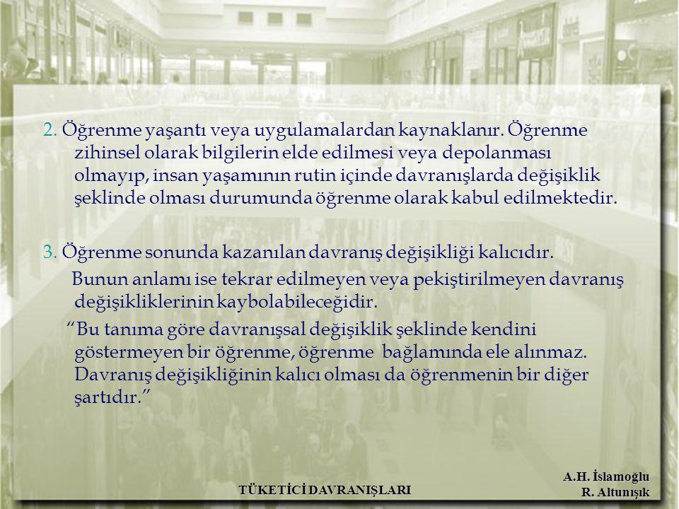 A.H.İslamoğlu R. Altunışık TÜKETİCİ DAVRANIŞLARI 2.