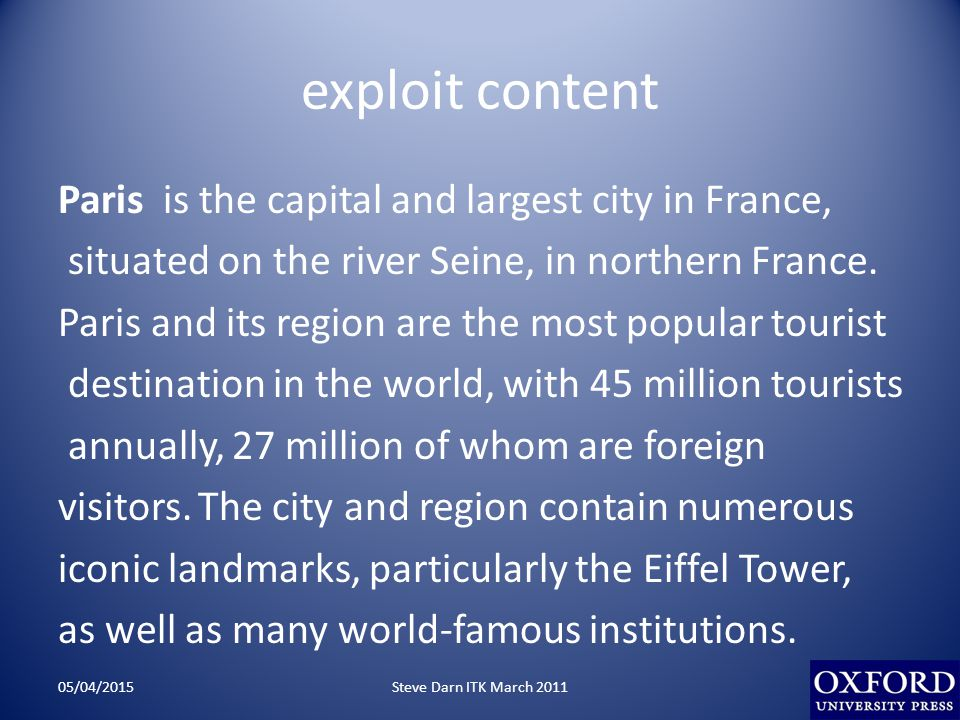 exploit content Paris is the capital and largest city in France, situated on the river Seine, in northern France. Paris and its region are the most po