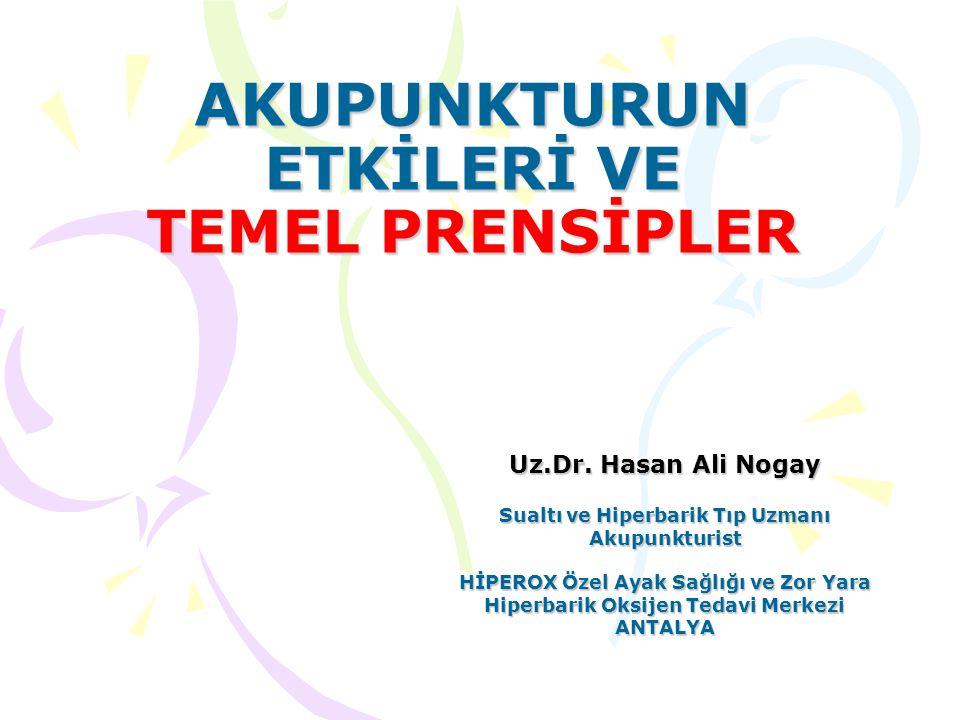 AKUPUNKTURUN ETKİLERİ VE TEMEL PRENSİPLER Uz.Dr. Hasan Ali Nogay Sualtı ve Hiperbarik Tıp Uzmanı Akupunkturist HİPEROX Özel Ayak Sağlığı ve Zor Yara H
