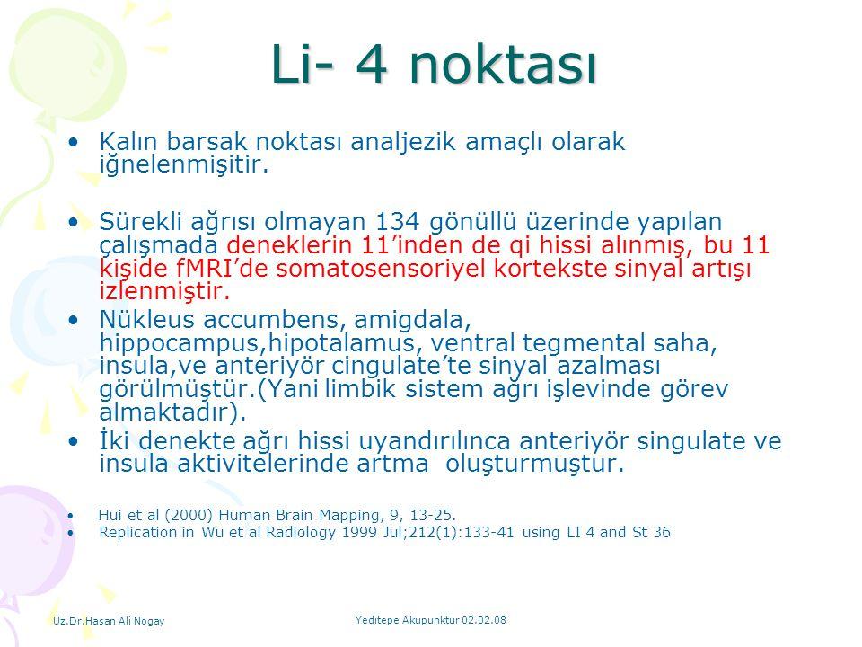 Uz.Dr.Hasan Ali Nogay Yeditepe Akupunktur 02.02.08 Li- 4 noktası Li- 4 noktası Kalın barsak noktası analjezik amaçlı olarak iğnelenmişitir. Sürekli ağ