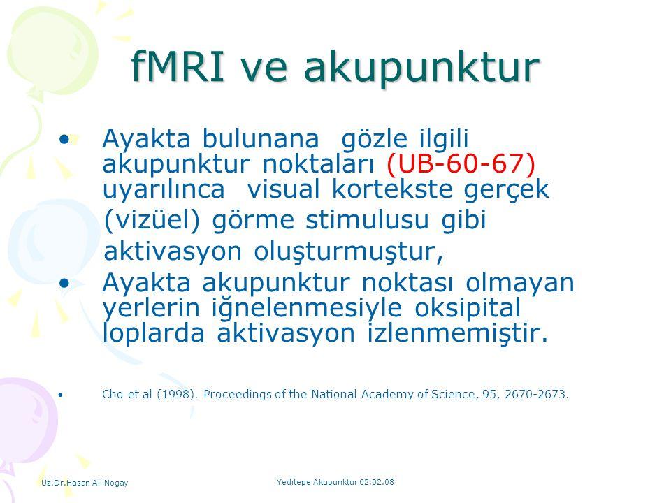 Uz.Dr.Hasan Ali Nogay Yeditepe Akupunktur 02.02.08 fMRI ve akupunktur Ayakta bulunana gözle ilgili akupunktur noktaları (UB-60-67) uyarılınca visual k