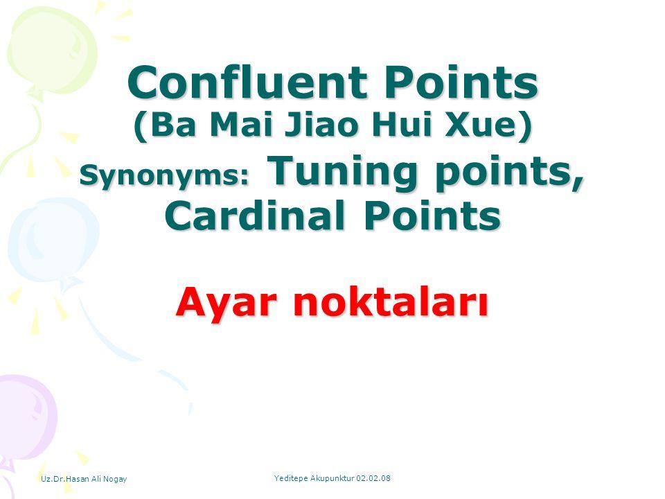 Uz.Dr.Hasan Ali Nogay Yeditepe Akupunktur 02.02.08 Confluent Points (Ba Mai Jiao Hui Xue) Synonyms: Tuning points, Cardinal Points Ayar noktaları