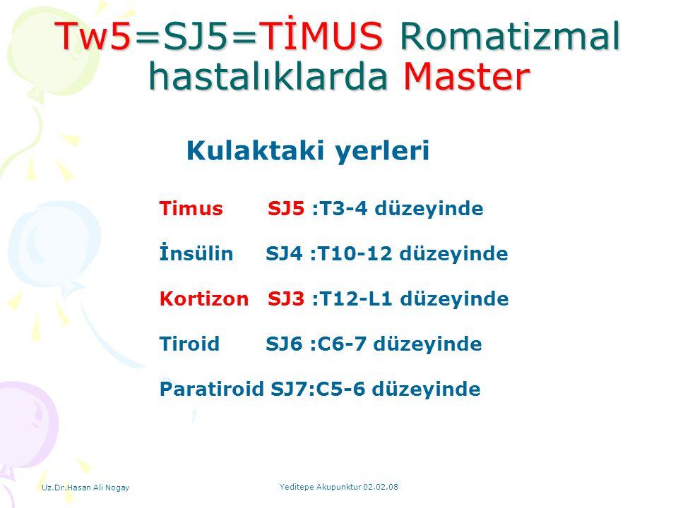 Uz.Dr.Hasan Ali Nogay Yeditepe Akupunktur 02.02.08 Tw5=SJ5=TİMUS Romatizmal hastalıklarda Master Timus SJ5 :T3-4 düzeyinde İnsülin SJ4 :T10-12 düzeyin
