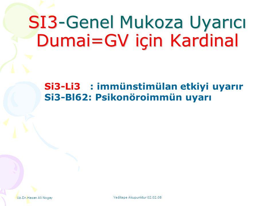 Uz.Dr.Hasan Ali Nogay Yeditepe Akupunktur 02.02.08 SI3-Genel Mukoza Uyarıcı Dumai=GV için Kardinal Si3-Li3 : immünstimülan etkiyi uyarır Si3-Bl62: Psi