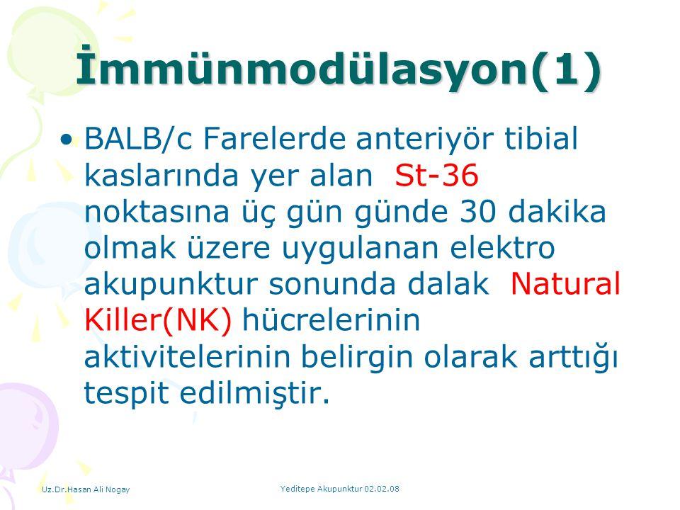 Uz.Dr.Hasan Ali Nogay Yeditepe Akupunktur 02.02.08 İmmünmodülasyon(1) BALB/c Farelerde anteriyör tibial kaslarında yer alan St-36 noktasına üç gün gün