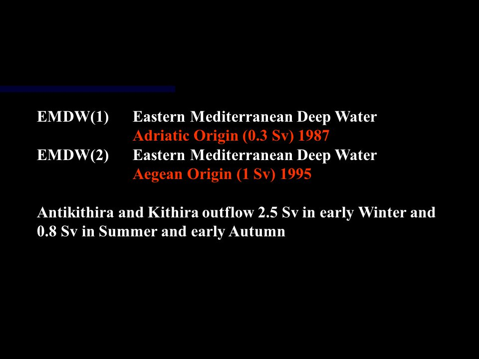 EMDW(1)Eastern Mediterranean Deep Water Adriatic Origin (0.3 Sv) 1987 EMDW(2)Eastern Mediterranean Deep Water Aegean Origin (1 Sv) 1995 Antikithira and Kithira outflow 2.5 Sv in early Winter and 0.8 Sv in Summer and early Autumn