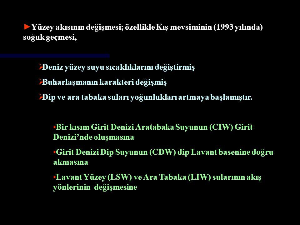 ►Çanakkale Boğazı'ndan Ege Denizi'ne akan Karadeniz Suyu (BSW) rejiminde olan değişiklikler (Zervakis, 2000) →Yankovsky ve diğ.