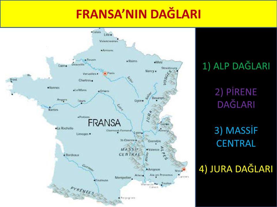 FRANSA'NIN DAĞLARI 1) ALP DAĞLARI 2) PİRENE DAĞLARI 3) MASSİF CENTRAL 4) JURA DAĞLARI