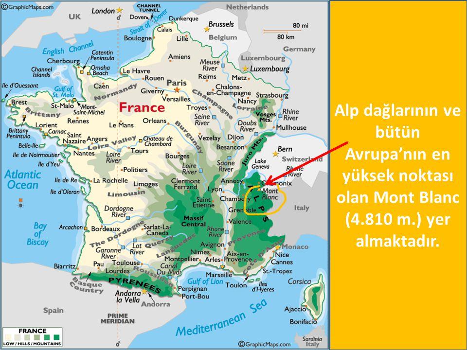 Alp dağlarının ve bütün Avrupa'nın en yüksek noktası olan Mont Blanc (4.810 m.) yer almaktadır.