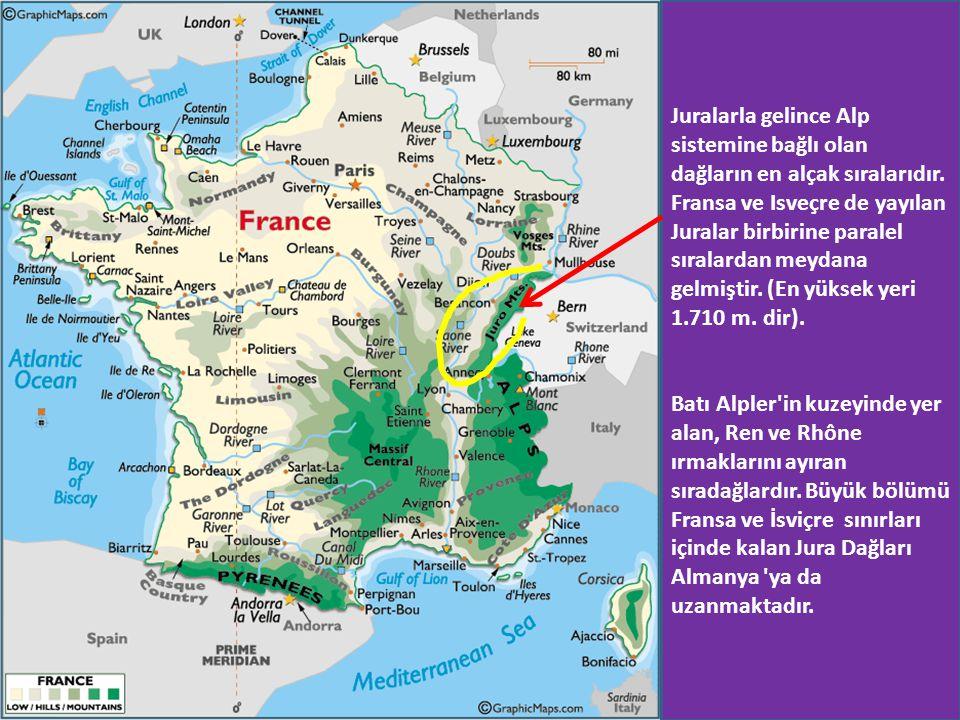 Juralarla gelince Alp sistemine bağlı olan dağların en alçak sıralarıdır. Fransa ve Isveçre de yayılan Juralar birbirine paralel sıralardan meydana ge
