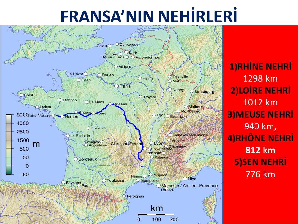 FRANSA'NIN NEHİRLERİ 1)RHİNE NEHRİ 1298 km 2)LOİRE NEHRİ 1012 km 3)MEUSE NEHRİ 940 km, 4)RHÔNE NEHRİ 812 km 5)SEN NEHRİ 776 km