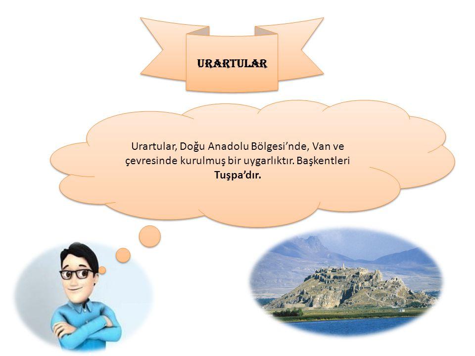 URARTULAR Urartular, Doğu Anadolu Bölgesi'nde, Van ve çevresinde kurulmuş bir uygarlıktır. Başkentleri Tuşpa'dır.