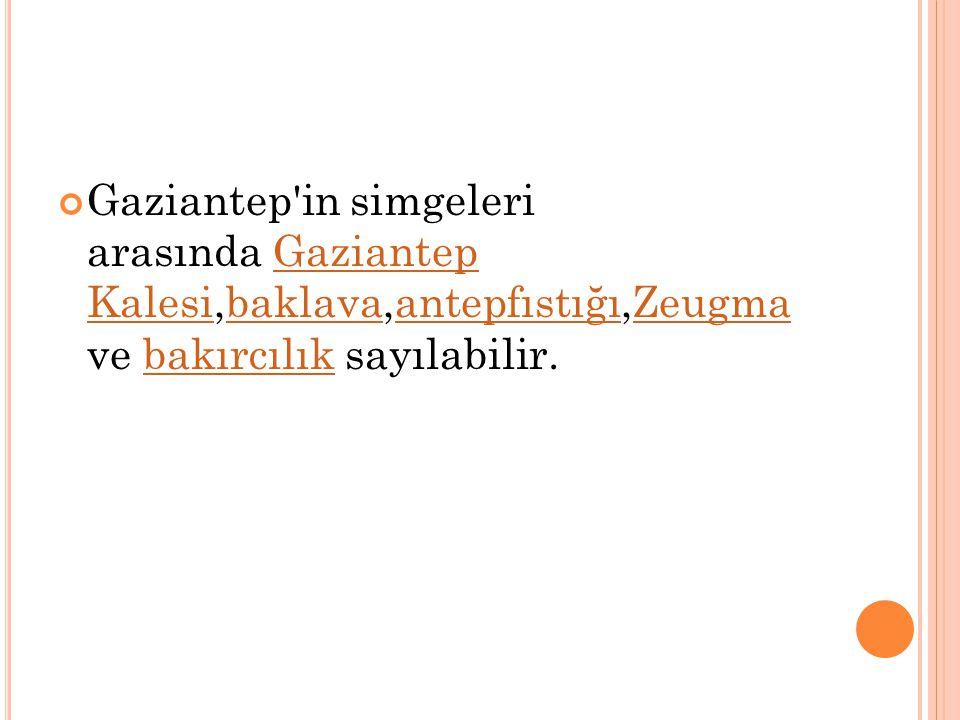 Gaziantep'in simgeleri arasında Gaziantep Kalesi,baklava,antepfıstığı,Zeugma ve bakırcılık sayılabilir.Gaziantep KalesibaklavaantepfıstığıZeugmabakırc