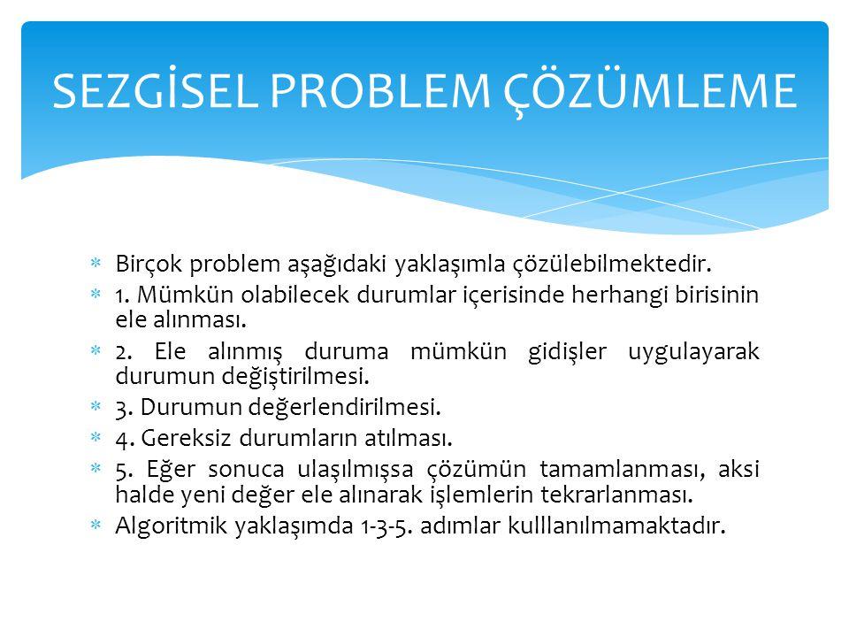  Birçok problem aşağıdaki yaklaşımla çözülebilmektedir.  1. Mümkün olabilecek durumlar içerisinde herhangi birisinin ele alınması.  2. Ele alınmış