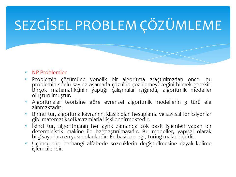  NP Problemler  Problemin çözümüne yönelik bir algoritma araştırılmadan önce, bu problemin sonlu sayıda aşamada çözülüp çözülemeyeceğini bilmek gere