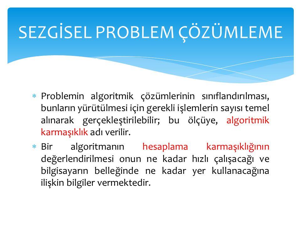  Problemin algoritmik çözümlerinin sınıflandırılması, bunların yürütülmesi için gerekli işlemlerin sayısı temel alınarak gerçekleştirilebilir; bu ölç