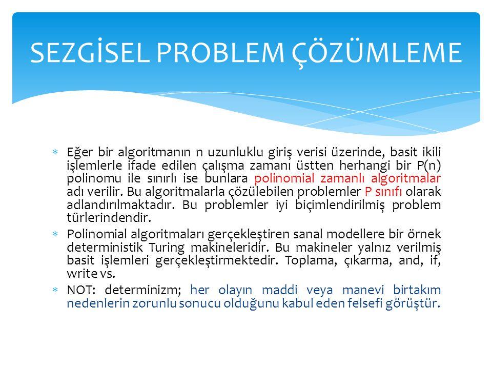  Eğer bir algoritmanın n uzunluklu giriş verisi üzerinde, basit ikili işlemlerle ifade edilen çalışma zamanı üstten herhangi bir P(n) polinomu ile sı