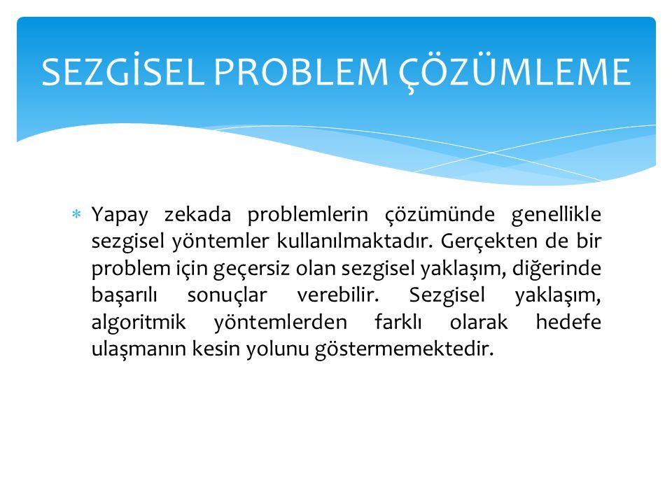  Yapay zekada problemlerin çözümünde genellikle sezgisel yöntemler kullanılmaktadır. Gerçekten de bir problem için geçersiz olan sezgisel yaklaşım, d