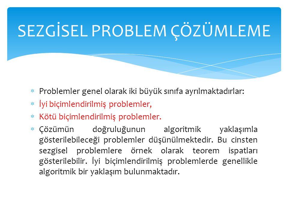  Problemler genel olarak iki büyük sınıfa ayrılmaktadırlar:  İyi biçimlendirilmiş problemler,  Kötü biçimlendirilmiş problemler.  Çözümün doğruluğ