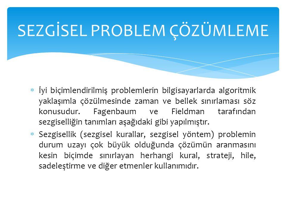  Sezgisellik, problem karmaşıklık içerdiğinde, çözüm için yolun bulunmasındaki yardımcı anahtardır.