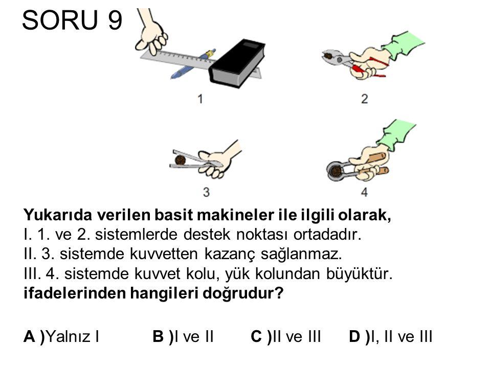 SORU 9 Yukarıda verilen basit makineler ile ilgili olarak, I. 1. ve 2. sistemlerde destek noktası ortadadır. II. 3. sistemde kuvvetten kazanç sağlanma