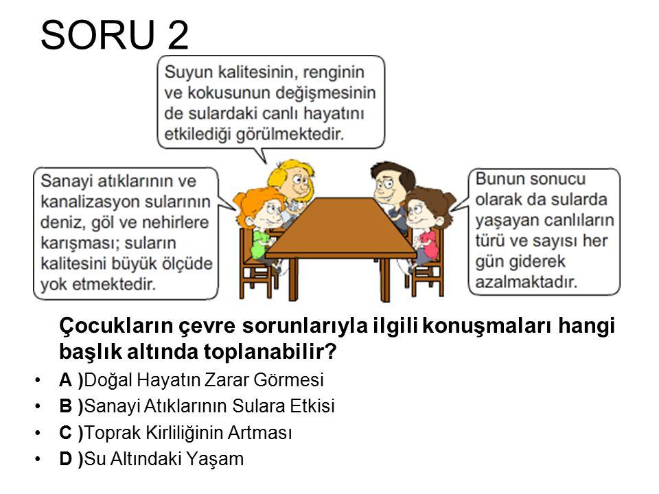 SORU 2 Çocukların çevre sorunlarıyla ilgili konuşmaları hangi başlık altında toplanabilir? A )Doğal Hayatın Zarar Görmesi B )Sanayi Atıklarının Sulara