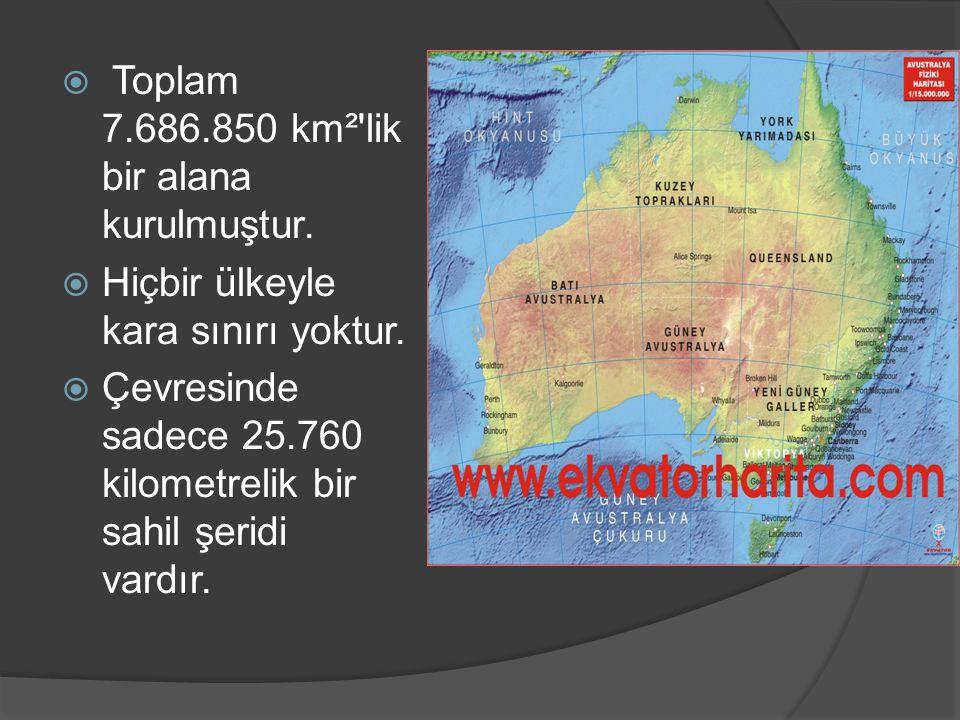  Toplam 7.686.850 km²'lik bir alana kurulmuştur.  Hiçbir ülkeyle kara sınırı yoktur.  Çevresinde sadece 25.760 kilometrelik bir sahil şeridi vardır