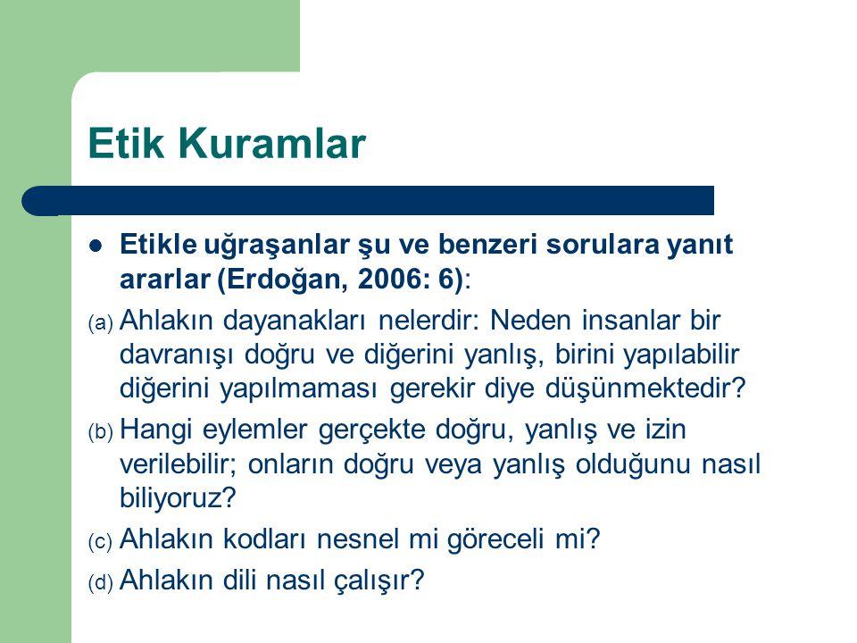 Etik Kuramlar Etikle uğraşanlar şu ve benzeri sorulara yanıt ararlar (Erdoğan, 2006: 6): (a) Ahlakın dayanakları nelerdir: Neden insanlar bir davranışı doğru ve diğerini yanlış, birini yapılabilir diğerini yapılmaması gerekir diye düşünmektedir.