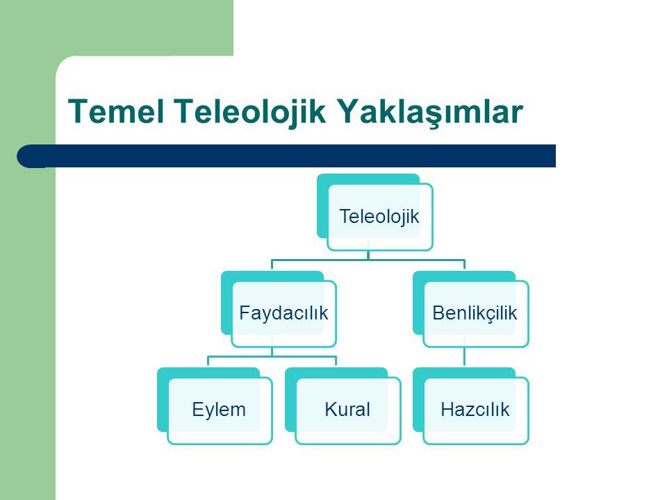 Temel Teleolojik Yaklaşımlar TeleolojikFaydacılıkEylemKuralBenlikçilikHazcılık