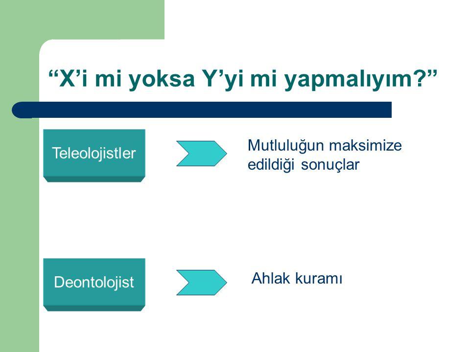 X'i mi yoksa Y'yi mi yapmalıyım? Teleolojistler Mutluluğun maksimize edildiği sonuçlar Deontolojist Ahlak kuramı