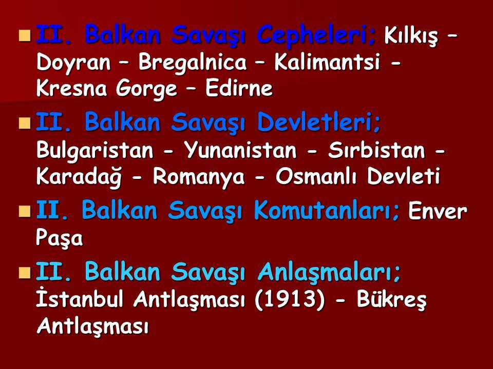 II. Balkan Savaşı Cepheleri; Kılkış – Doyran – Bregalnica – Kalimantsi - Kresna Gorge – Edirne II. Balkan Savaşı Cepheleri; Kılkış – Doyran – Bregalni