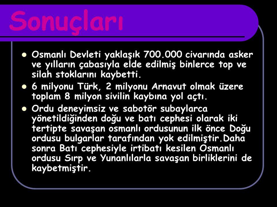 Sonuçları Osmanlı Devleti yaklaşık 700.000 civarında asker ve yılların çabasıyla elde edilmiş binlerce top ve silah stoklarını kaybetti. 6 milyonu Tür
