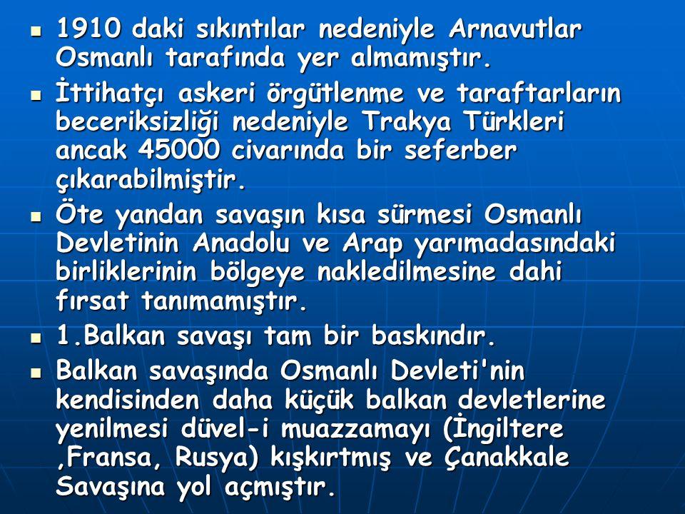 1910 daki sıkıntılar nedeniyle Arnavutlar Osmanlı tarafında yer almamıştır. İttihatçı askeri örgütlenme ve taraftarların beceriksizliği nedeniyle Trak