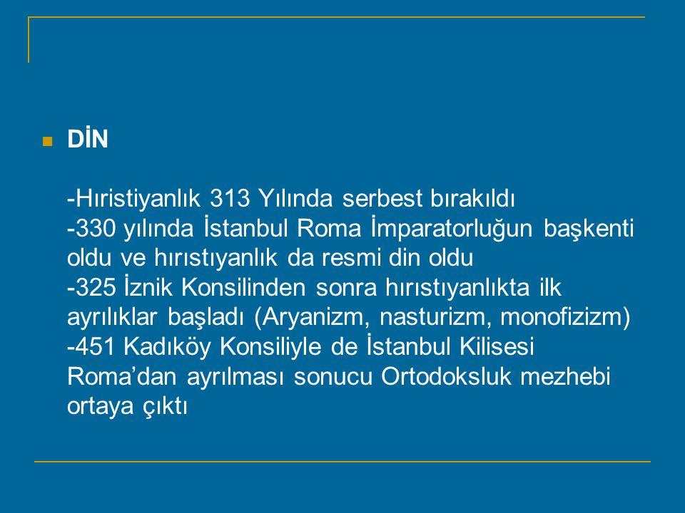 DİN -Hıristiyanlık 313 Yılında serbest bırakıldı -330 yılında İstanbul Roma İmparatorluğun başkenti oldu ve hırıstıyanlık da resmi din oldu -325 İznik