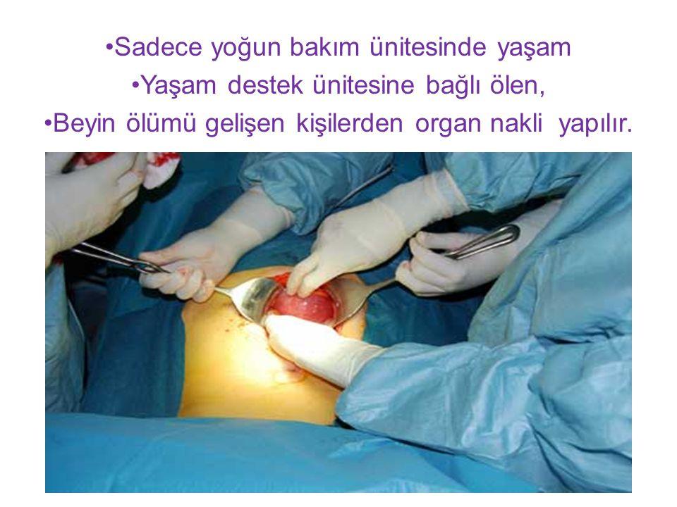 Sadece yoğun bakım ünitesinde yaşam Yaşam destek ünitesine bağlı ölen, Beyin ölümü gelişen kişilerden organ nakli yapılır.