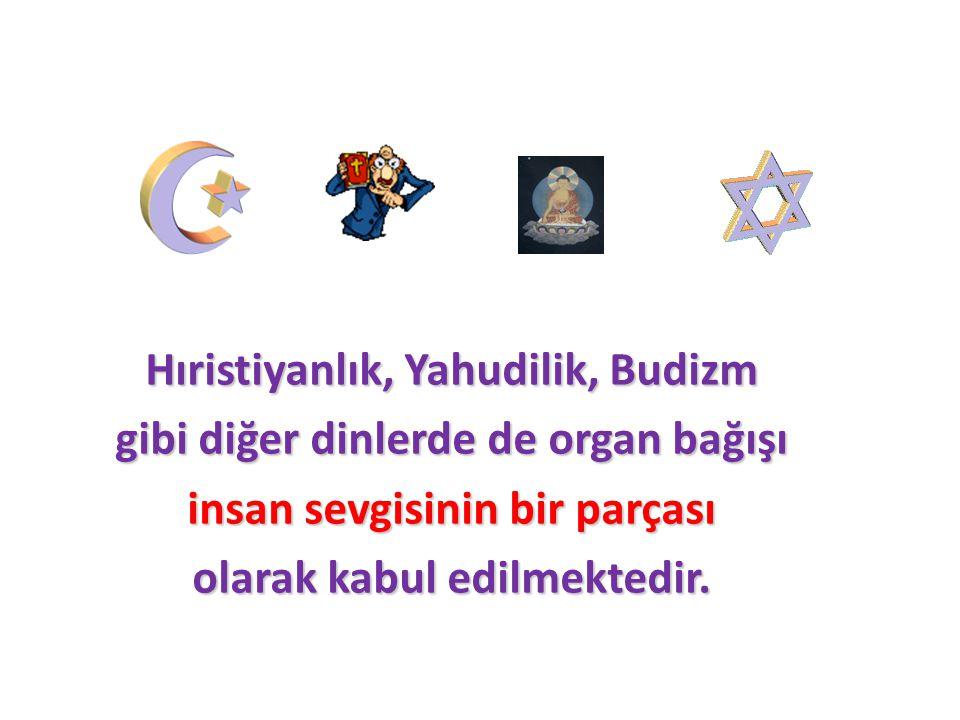 Hıristiyanlık, Yahudilik, Budizm gibi diğer dinlerde de organ bağışı insan sevgisinin bir parçası olarak kabul edilmektedir.